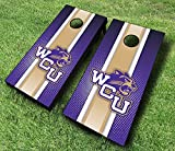 "WESTERN CAROLINA CATAMOUNTS WCU ""Striped"" Themed CORNHOLE WRAPS BOARD SET Bean Bag Toss + 8 ACA Regulation Bags ~ MADE in the USA"