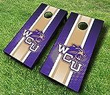 Western Carolina Catamounts WCU Striped Themed Cornhole Wraps Board Set Bean Bag Toss + 8 ACA Regulation Bags ~ Made in The USA