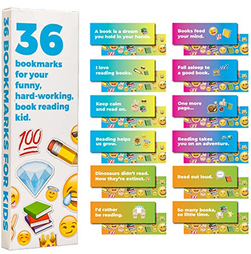 36-Pack of Paper Bookmarks for Kids and Children. This Bulk Set of Cool, Cute, Fun quotemarks Feature Motivational and Unique Quotes and Emojis. Each bookmarker is Made of The Best cardstock.