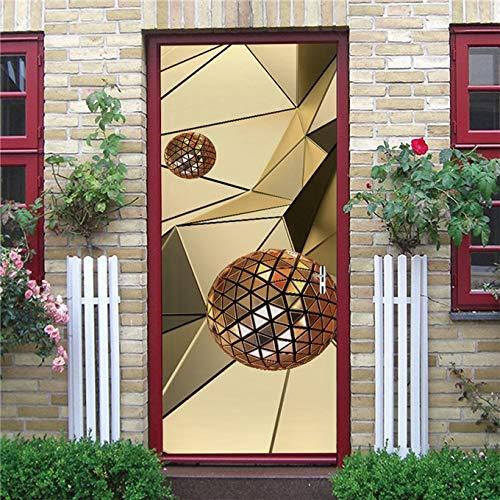 N / A Papel Tapiz de Puerta de Espacio Blanco 3D, decoración Moderna para el hogar, Pegatina de Puerta, póster de pelar y Pegar, decoración de Dormitorio de Cocina, Mural A10 95x215cm