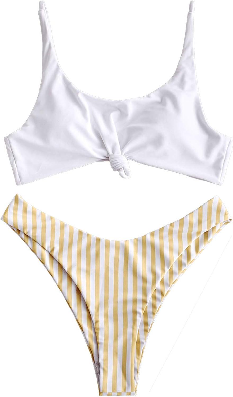 ZAFUL Womens Contrast Striped Knot 2 Pieces Bikini Set Straps High Cut Bathing Suit