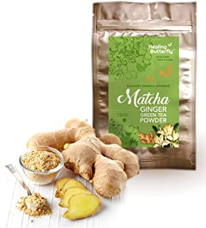 Ginger Matcha Green Tea Powder, Organic Japanese Premium Grade, 100% Vegan, Packed with Nutrients and Antioxidants, Boosts Your Metabolism And Tastes Great, [53.9g, 1.9oz, 25 Servings]