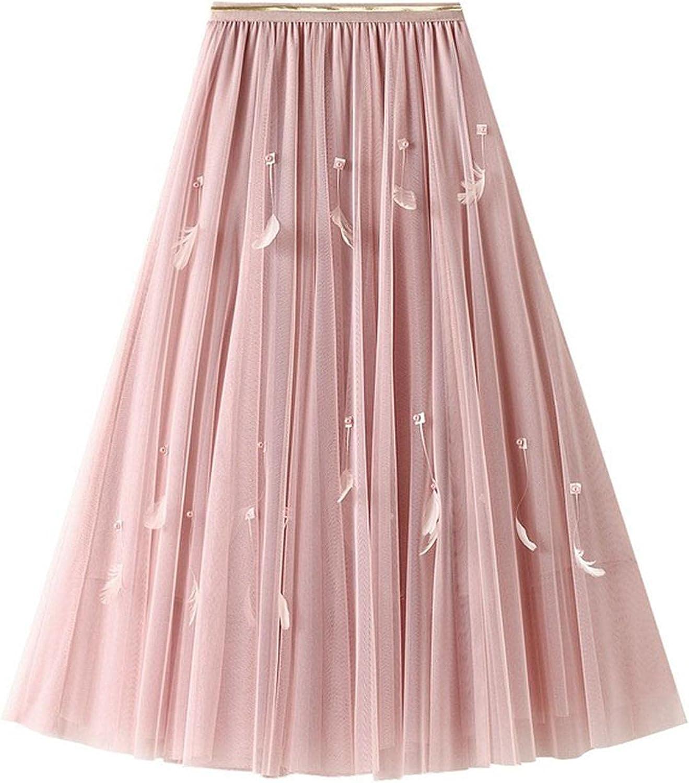 DRGE Women's Mesh Layered Skirt Pleated High Waist Mid-Length Swing Skirt
