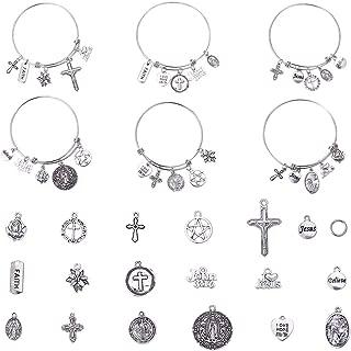 SUNNYCLUE 1 Caja de Piezas de Bricolaje Religiosa Milagrosa San Benito Medalla Protección contra el Mal Colgante Jesús Brazalete Pulsera Kit de Fabricación para Mujeres Principiantes