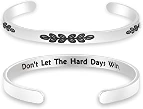 Lywjyb Birdgot Cancer Survivor Gift Sympathy Gift Recovery Jewelry Don't Let The Hard Days Win Cuff Bracelet Sick Friend Gift Cancer Gift for Women Cancer Awareness Inspirational Gift
