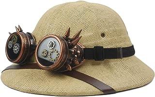 Hat Fashion Steampunk Glasses Toquilla Straw Helmet Pith Sun Hats for Men Vietnam War Army Hat Dad Boater Bucket Hats Safari Jungle Miners Cap Fashion Accessories (Color : Beige, Size : 57-58cm)