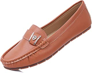 sorliva Penny Loafers for Women,Comfortable Leather Slip-On Driving Boat Moccasins Ballet Flats Shoes