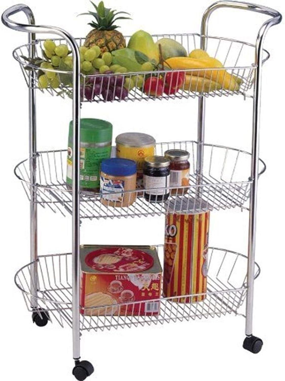 Keraiz Stainless Oval Shaped Vegetable Fruit Trolley   Multi-Purpose Kitchen Food Storage Rack (3 Tier)