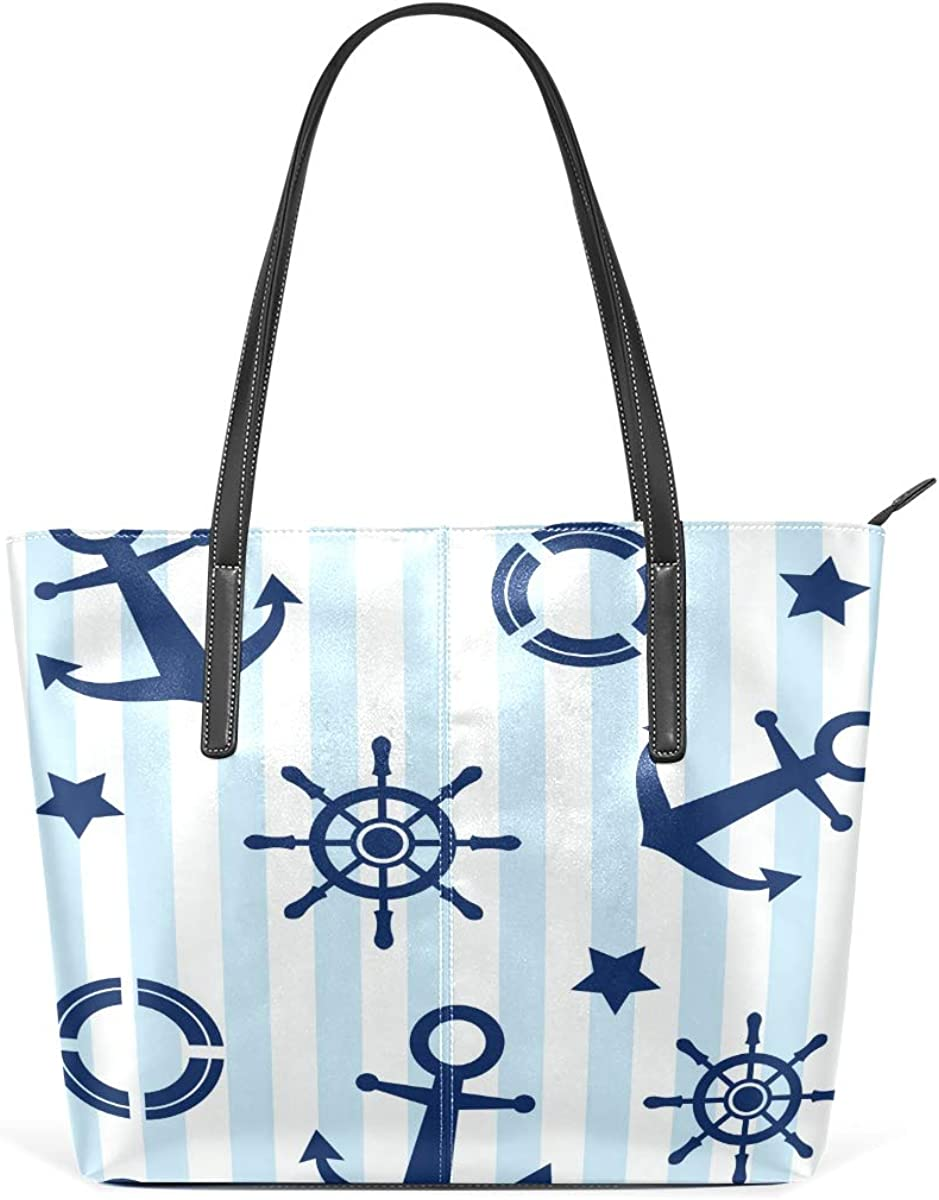 Stripe Tool New product type Blue PU Leather Max 70% OFF for Bag High-capacity Tote Women