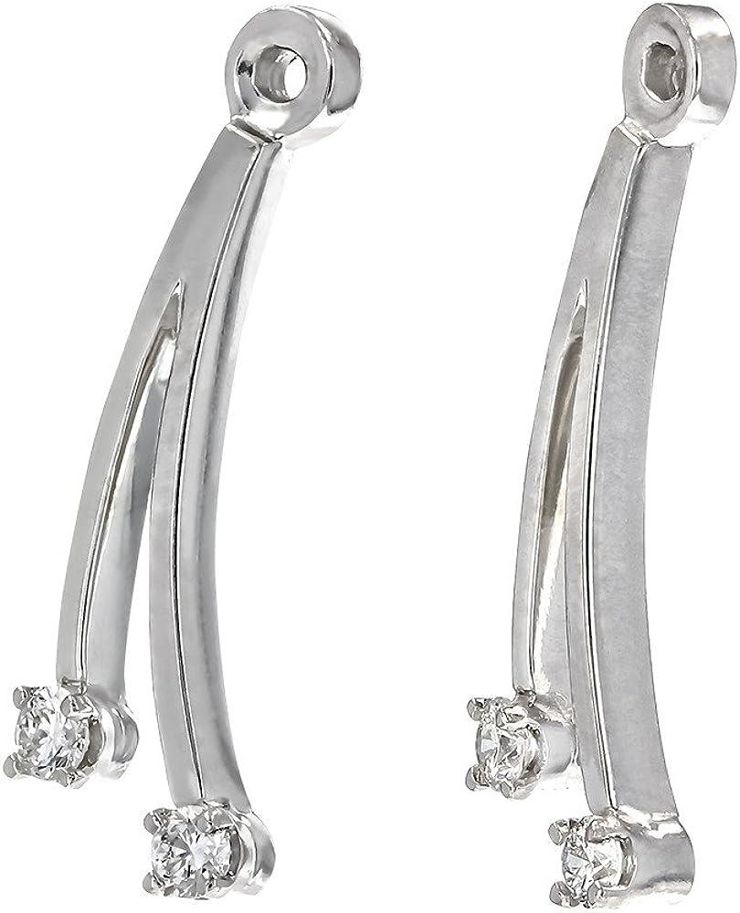 14 Karat White Gold 0.12 Carat Total Weight Round Diamond Earring Jackets