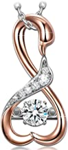 DANCING HEART ✦Swan Series✦ 925 Sterling Silver Christmas Necklace Gifts for Women Rose Gold Necklace AAA CZ Pendant Necklace for Her with Dancing Stone