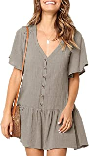 Womens V Neck Short Sleeve Mini Dresses Button Down Casual Loose Swing Skater T Shirt Dresses