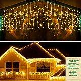 KNONEW 320 cortina de luces LED, 8 modos,de cadena de luces. Enchufe para interior, fiesta/boda/Navidad