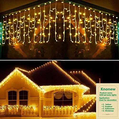 KNONEW LED String - 300LED rideaux chaîne de fée du ménage intérieur et fête de mariage de Noël chambre de jardin éclairage décoratif 3 m * 3 mètres(Blanc chaud)