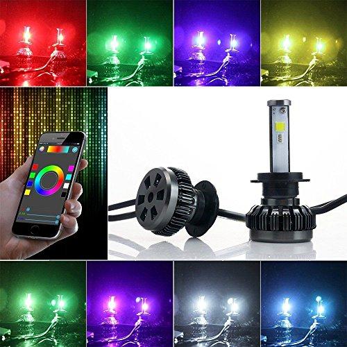 Torofibi H10 2 in 1 Auto Led Headlight Kits - HZ-RGB Smartphone App-enabled Bluetooth RGB + LED Headlight Conversion