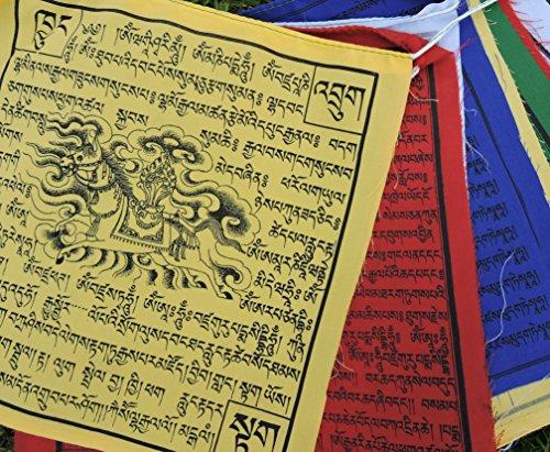 Large Cotton Tibetan Prayer Flags Wind Horse Green Tara Buddha of Compassion Medicine Buddha Guru Rinpoche 10 Flags