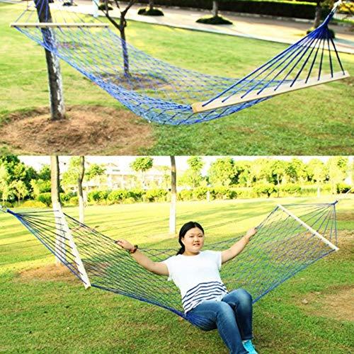 Hangmatten outdoor Hangmatten outdoor Mesh camping opknoping vel met houten stokken, nylon touw hangstoel met boom touw, zomerse ritme bed