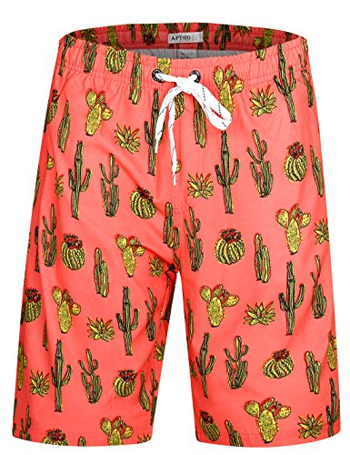 APTRO Herren Badehose Freizeit Short Schnelltrocknend Badeshorts Kaktus BS021 XXXL