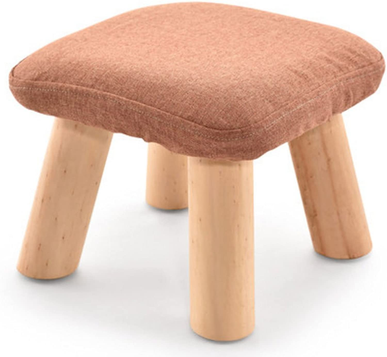 CQOZ Small Stool, Solid Wood Sofa Stool Cloth Small Bench Square Stool Mushroom Stool Low Stool Fashion Creative Wear shoes shoes shoes Sofa Stool (color    3)