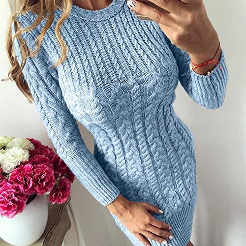 QWDXS Strickkleider Herbst Winter Frauen Pullover Kleid Gestrickte Weibliche Kleid & Pullover Kleid Frauen Pullover, Sky Blue, S