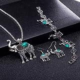 Ibuprofen Brazaletes Pulseras Mujeres 's Pop Cristal/Cristal Piedra Animal Collar Pendientes Conjunto de Pulseras Retro Serie de Animales Lindos Conjunto de Elefantes de Tres Piezas Decoración