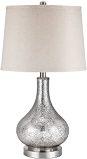 Catalina Lighting 19560-000 Transitional 3-Way Mecury Glass Gourd Table Lamp with Linen Shade, 24