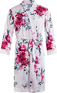 Maternity Labor Delivery Nursing Robe Lace Trim Floral Nightgowns Sleepwear