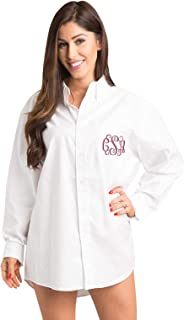 monogrammed white shirts for bridesmaids