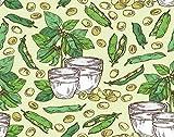 Y·JIANG Pintura de leche de soja por números, un vaso de leche de soja y planta de soja, lienzo acrílico al óleo por números para adultos y niños, decoración de pared del hogar, 40,6 x 40,6 cm