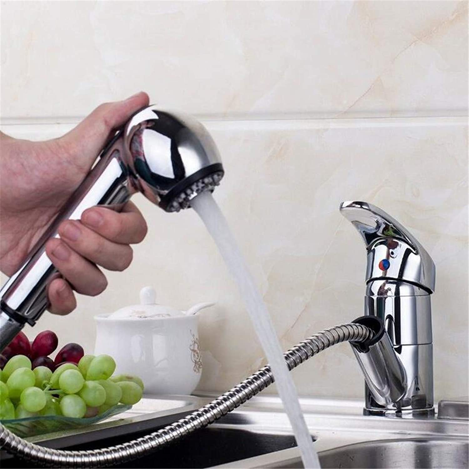 Chrome Brass Kitchen Faucet Pull Out Stream Spout Chrome Brass Deck Mounted Tap Kitchen Sink Faucet Hot & Cold Mixer Taps