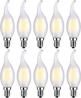 MENTA Bombillas Vela de Filamento Flame LED E14 4W equivalente a 40W Blanco Frío 6500K 400LM Casquillo Fino E14 SES No regulable Vidrio Esmerilado 10 Unidades