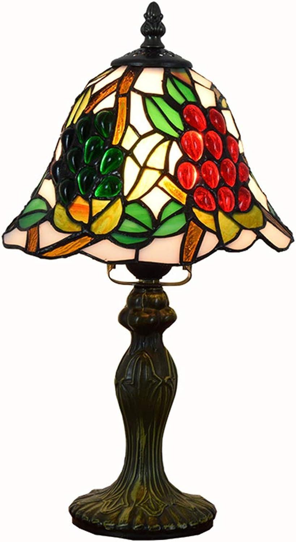 KCoob Tischlampe Crystal Beading rote und grüne Traube Muster auf Lampenabdeckung Metall Base Small Größe