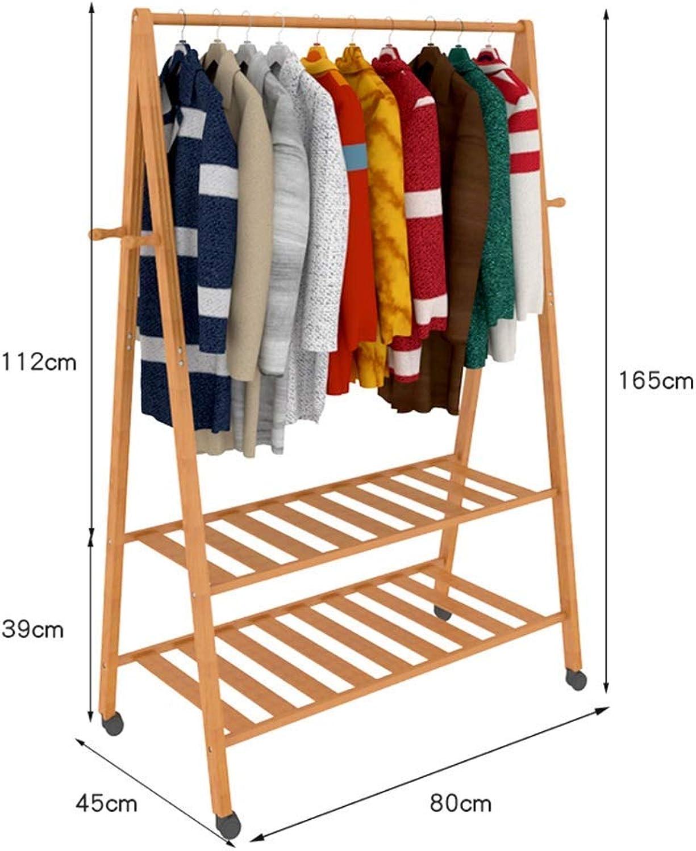 DYR Coat Racks Bamboo Coat Racks Coat Racks Coat Racks Coat Racks 2 Tiers 4 Hooks for shoes Rack and Hats Laundry Racks (Dimensions  80CM-A)