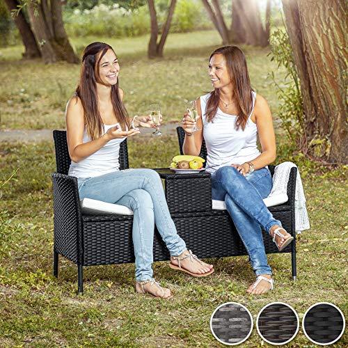 TecTake Sitzbank mit Tisch Poly Rattan Gartenbank Gartensofa inkl. Sitzkissen - Diverse Farben - (Schwarz-Braun | Nr. 401548) - 2