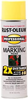 Rust-Oleum 266577 Professional 2X Distance Inverted Marking Spray Paint, 12 oz, High Visibility Yellow