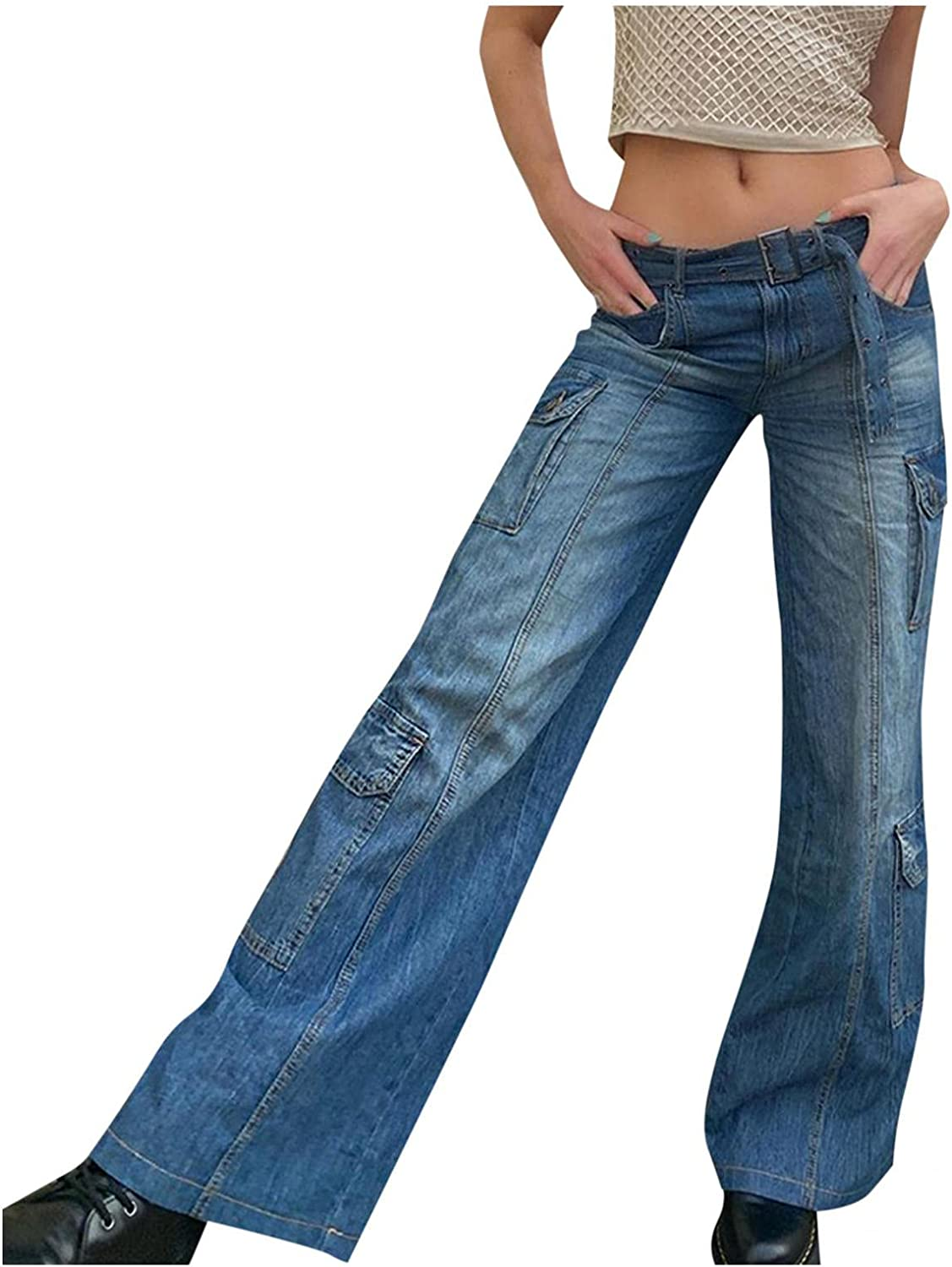 Y2K Fashion Jeans for Women High Waisted Stretch Casual Distressed Straight Jeans Vintage Baggy Denim Pants Trousers