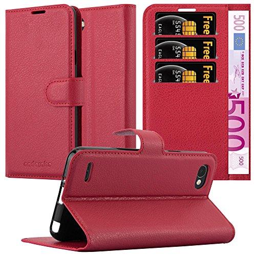 Cadorabo Hülle für LG Q6 - Hülle in Karmin ROT – Handyhülle mit Kartenfach & Standfunktion - Hülle Cover Schutzhülle Etui Tasche Book Klapp Style