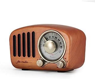 ポータブルラジオ レトロラジオ FM/AM対応 木製スピーカー FMラジオ機能搭載 チェリーウッド ブルートゥース Bluetooth 4.2/FMラジオ/TFカード/auxソケット対応 ワイヤレス サブウーファー強化8時間再生可能 for パソコン・PC・スマホ・Andorid・iPhone