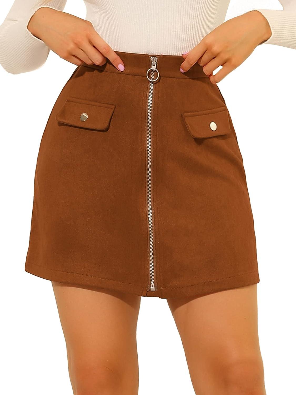 Allegra K Women's A-Line High Waist Skirts Zipper Front Elastic Back Faux Suede Mini Skirt