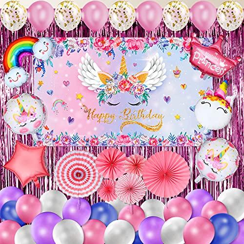 81 Piezas Set de Decoraciones de Fiesta Cumpleaños de Unicornio, Bandera Telón de Fondo de Cumpleaños de Unicornio Rosa Decoración de Globos Cortinas de Tema de Unicornio Abanico de Papel