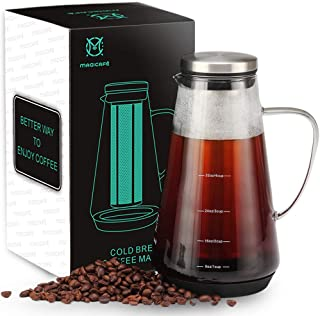 MAGICAF� Cold Brew Coffee Maker - Tea Infuser with Spout Airtight Iced Brewing Glass Carafe 40oz