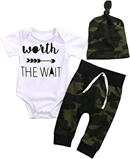 Cute 3pcs Newborn Baby Boys Letter Print Romper+Camouflage Pants+Hat Outfits Set