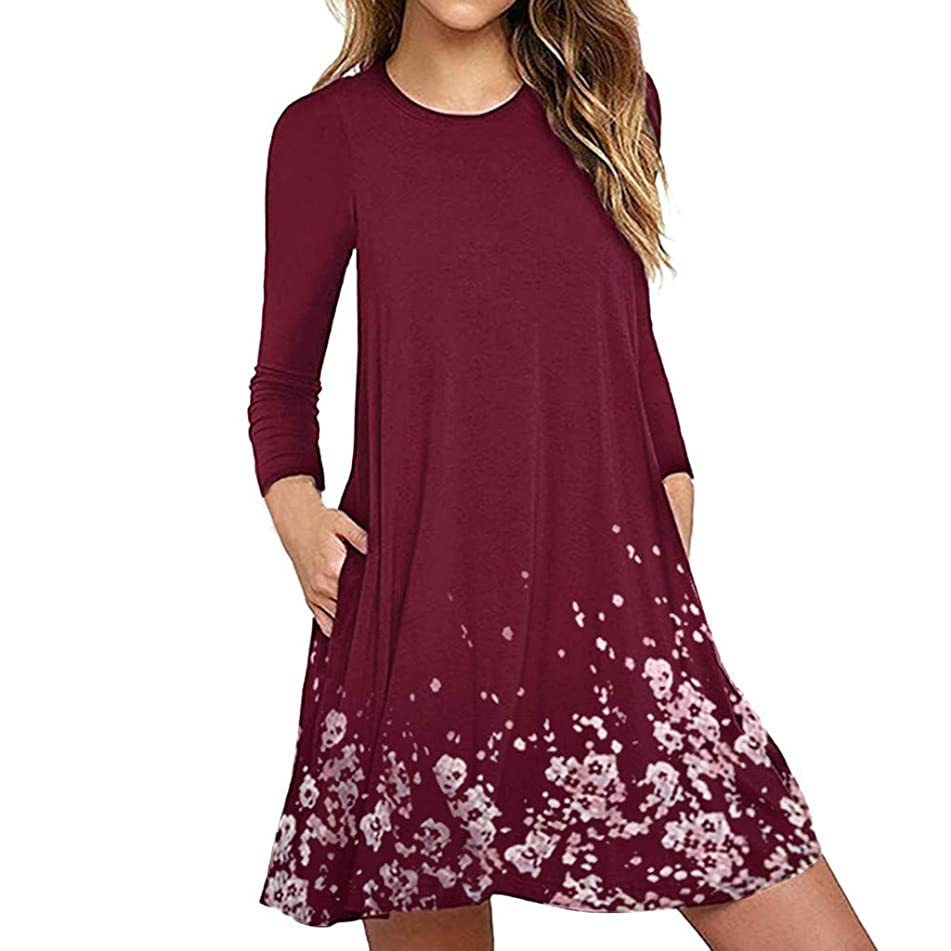 Women's Summer Casual T Shirt Dresses Pleated Loose Swing Simple Tunic Dress with Pockets Knee Length