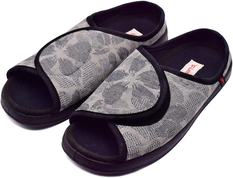 DS-Slippers Woman Diabetic shoes, Extra Wide Width Open Toe Slippers, Adjustable Arthritis Edema Slippers for Elderly Women