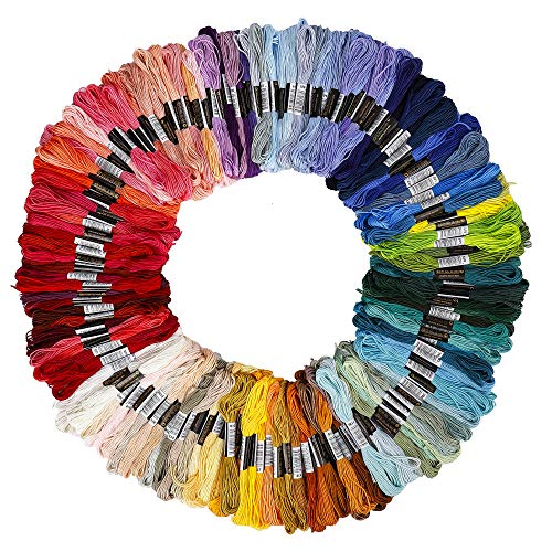 Hilos de Bordar 150 Colorear Madejas Kits de Hilos Línea de 6 Núcleos Cross Stitch Algodón Bordado Hilos Kit para Costura Punto de Cruz et Hacer Pulseras