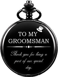 ManChDa Engraved Pocket Watches, Pocket Watches for Groomsman, Roman Numerals Quartz Pocket Watch for Groomsman Wedding (Black Black)