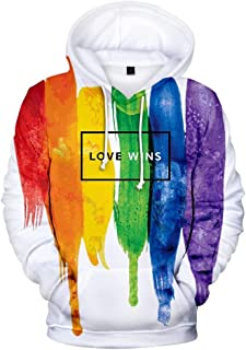 Jack Fashion Rainbow Pullover Hoodie,Gay Pride Month Jacket Sweatshirt,Comfortable Breathable Long Sleeve Pocket Clothing Top for Lesbians & Gays & Bisexuals & Transgender & LGBT Supporters- Available in Multiple Styles & Sizes