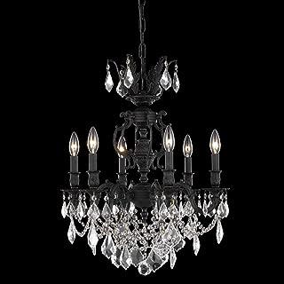 Elegant Lighting 9506D20DB/SS Marseille Collection 6-Light Hanging Fixture with Swarovski Spectra Crystal, Dark Bronze Finish