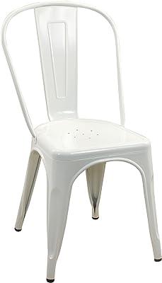 CAPRILO Silla Blanca de Metal Retro. 84 x 44 x 43 cm.: Amazon.es ...