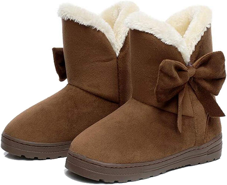 Hoxekle Women Winter Snow Boot Flat Round Toe Bowknot Plush Fur Short Boots Non-Slip Platform Anke Boots